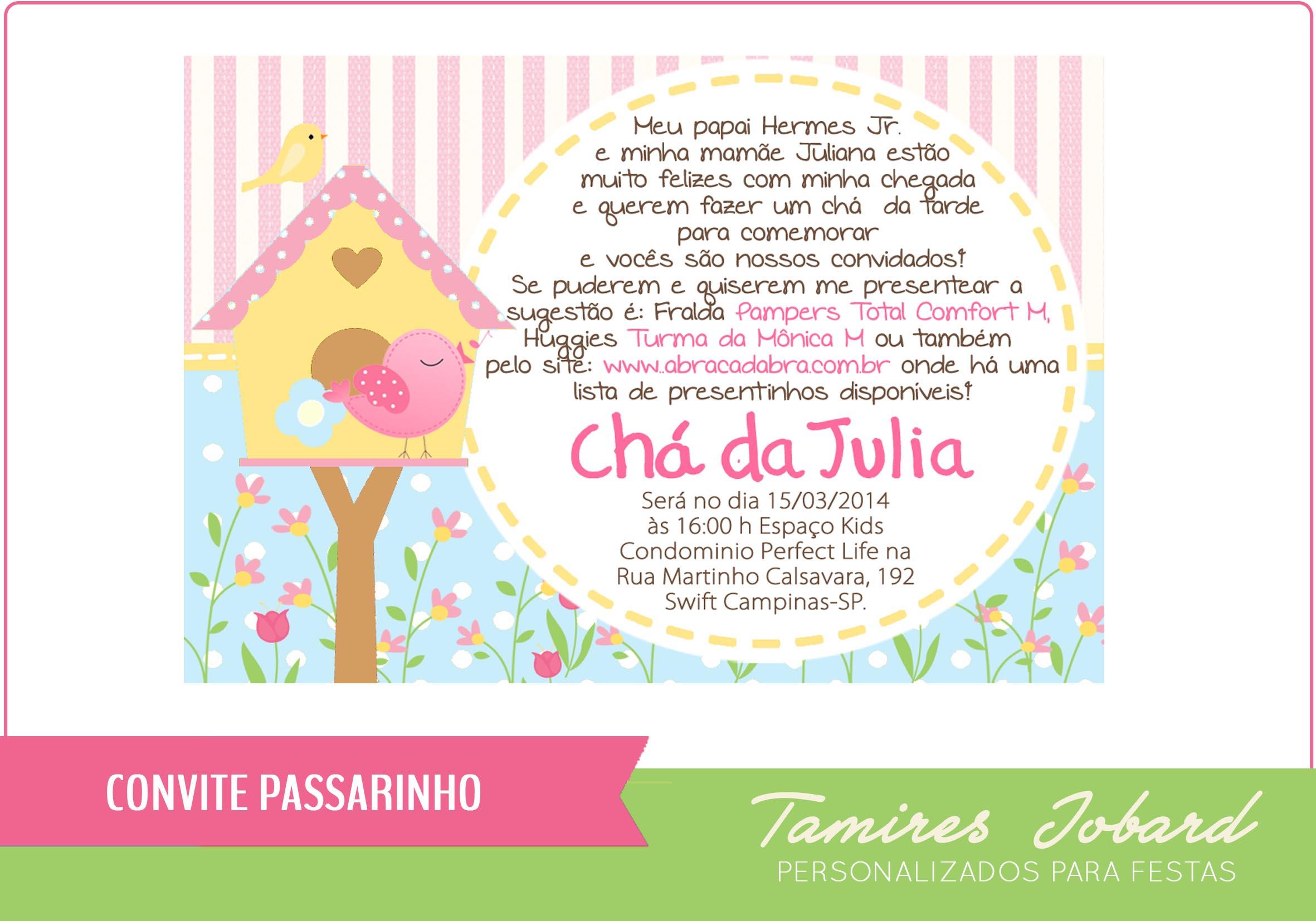 Convite Digital Passarinho No Elo7 Creative Paper Por Tamires