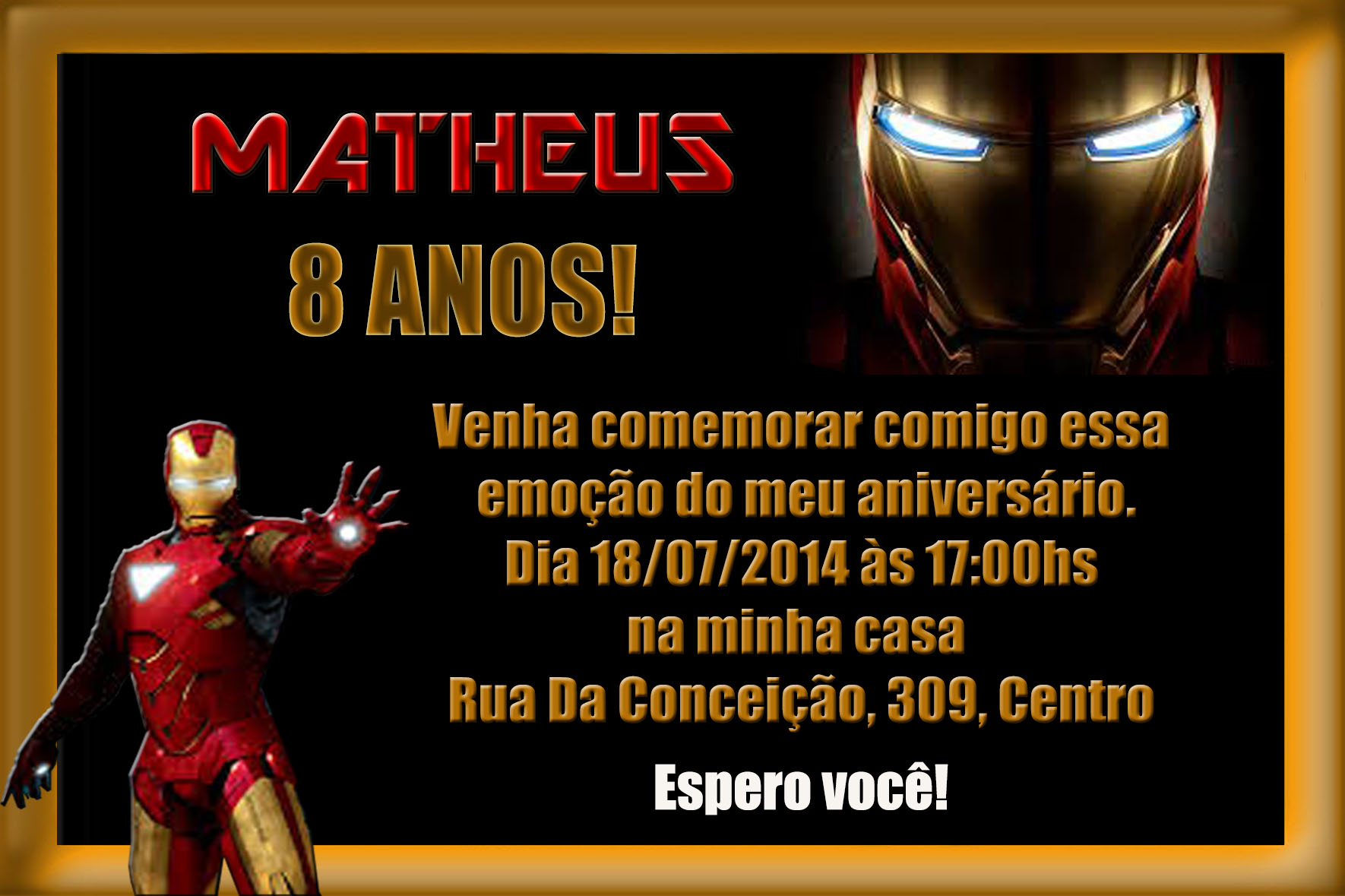 Convite Digital Homem De Ferro Elo7