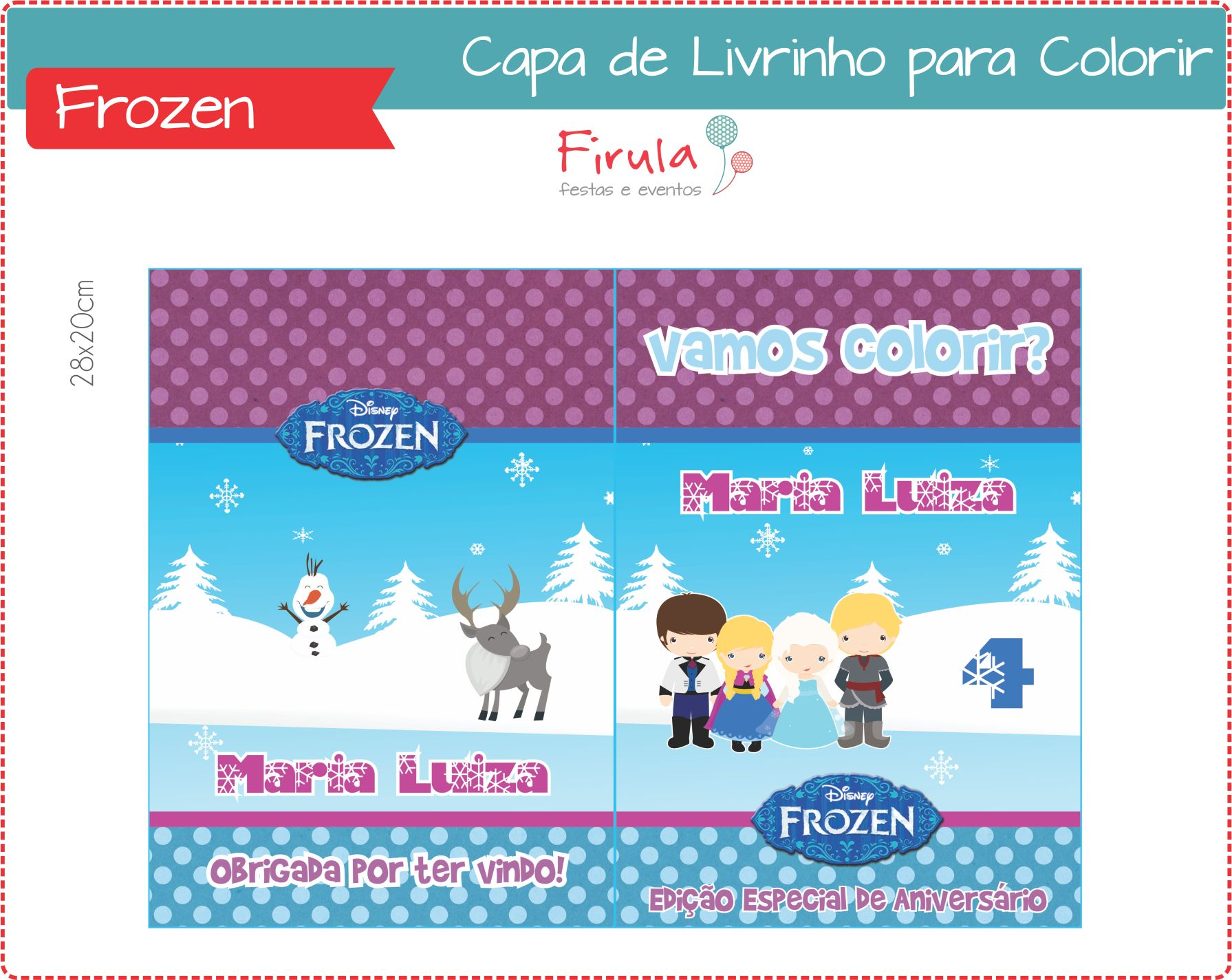 Capa De Livrinho Para Colorir Frozen No Elo7 Firula Festas 408a78