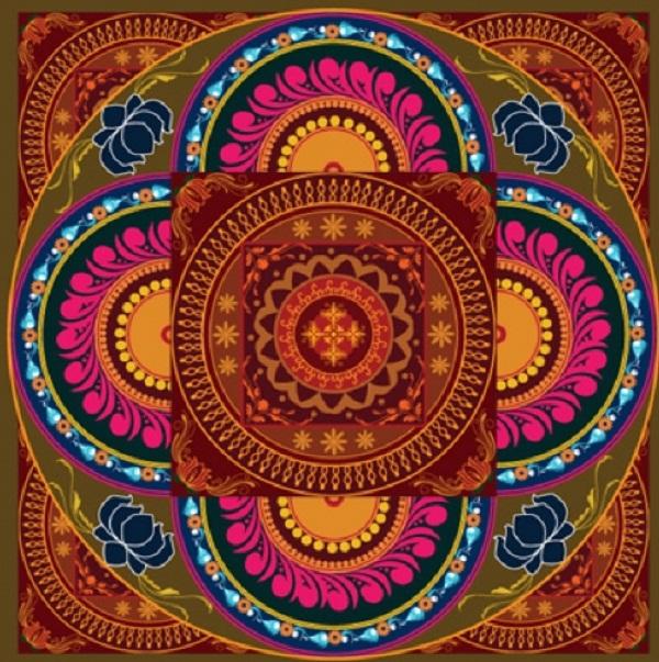 Artesanato Tecido Patchwork ~ Mandala Tecido Adesivo Marrom 20 x 20 Crie Casa Decoracao Elo7