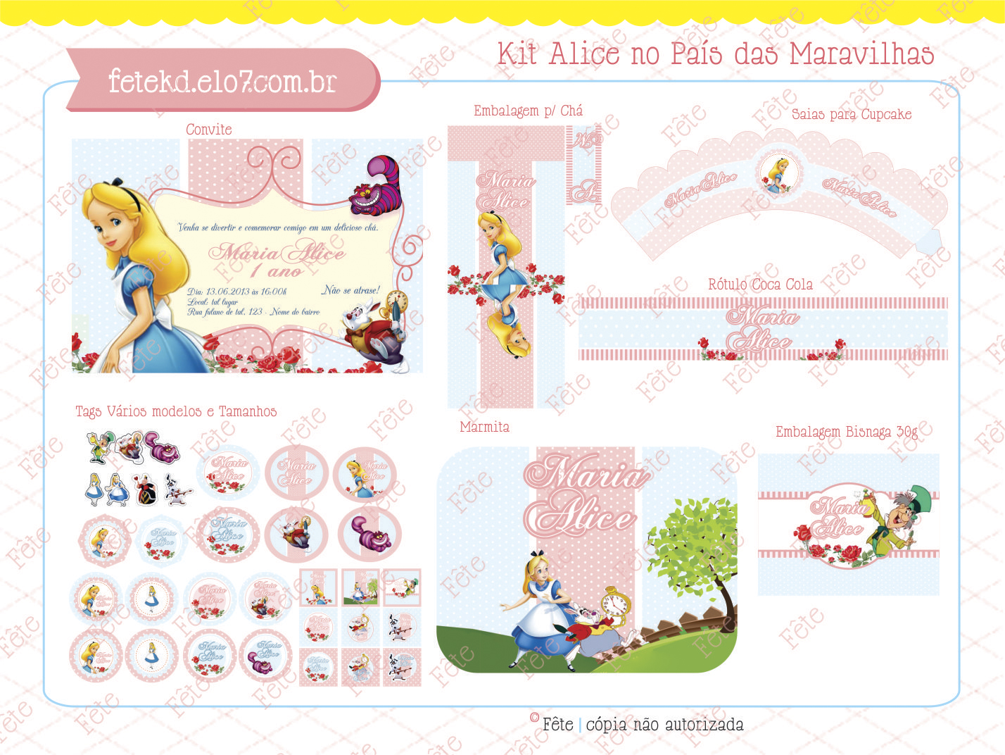Famosos Kit Digital Alice No Pais das Maravilhas   Elo7 NR85
