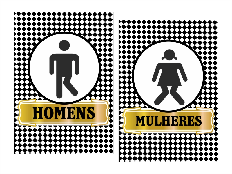 PLACAS BANHEIRO  Arte Digital  Criadora de Festas  Elo7 -> Placas Banheiro Feminino Para Imprimir