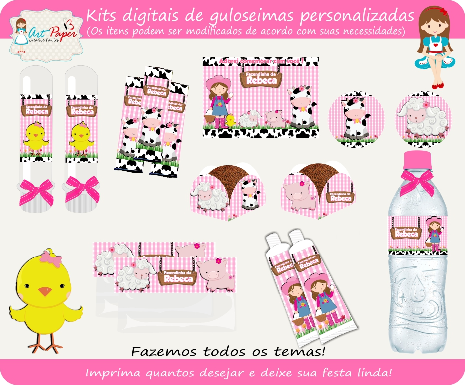 Well-known Kit guloseimas digital fazendinha no Elo7 | Art Paper Creative  XJ58