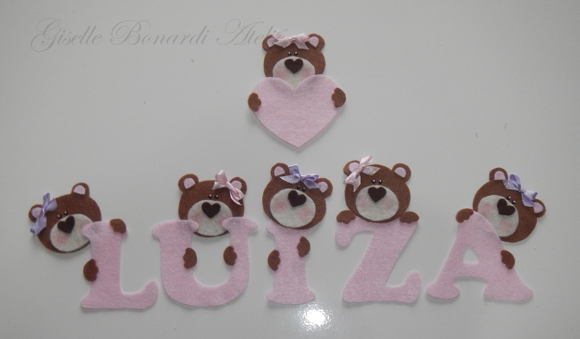Apliques letras com ursinhos giselle bonardi ateli elo7 - Apliques infantiles de pared ...