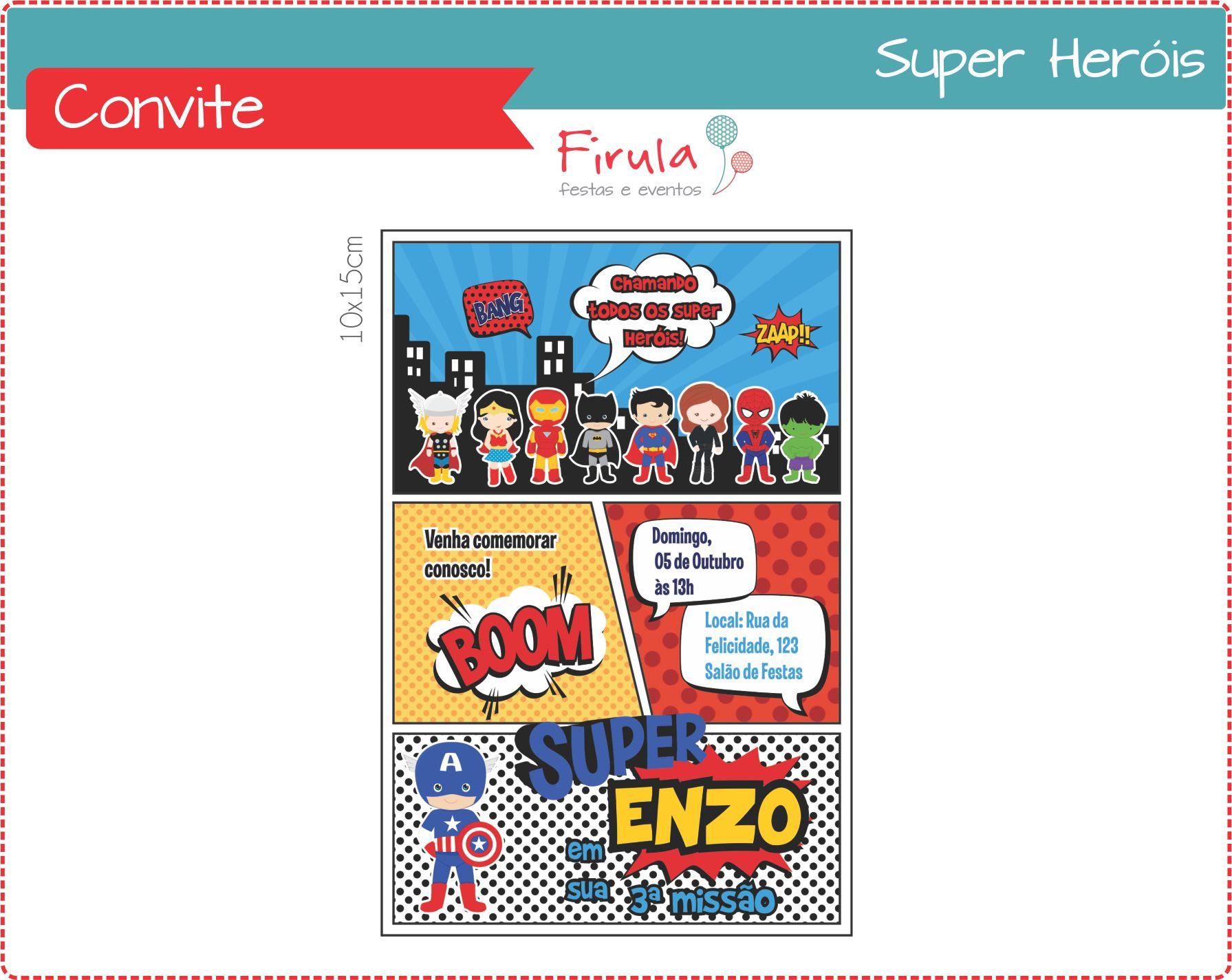Convite Super Heróis Menina Elo7