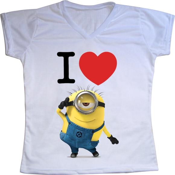 Camiseta Feminina Minions Coracao  1576be5e1fa43