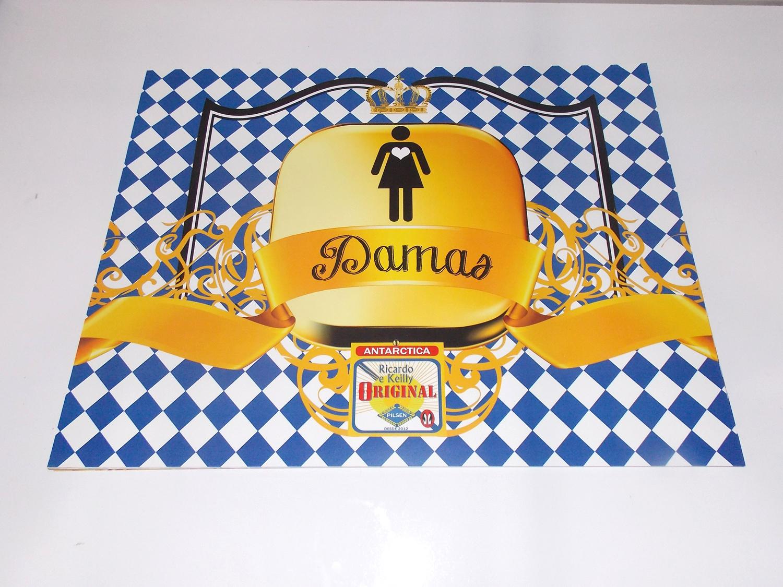 1 Cartaz De Papel Identificação Banheiro  Catia Cunha Designs  Elo7 -> Cartaz Banheiro Feminino