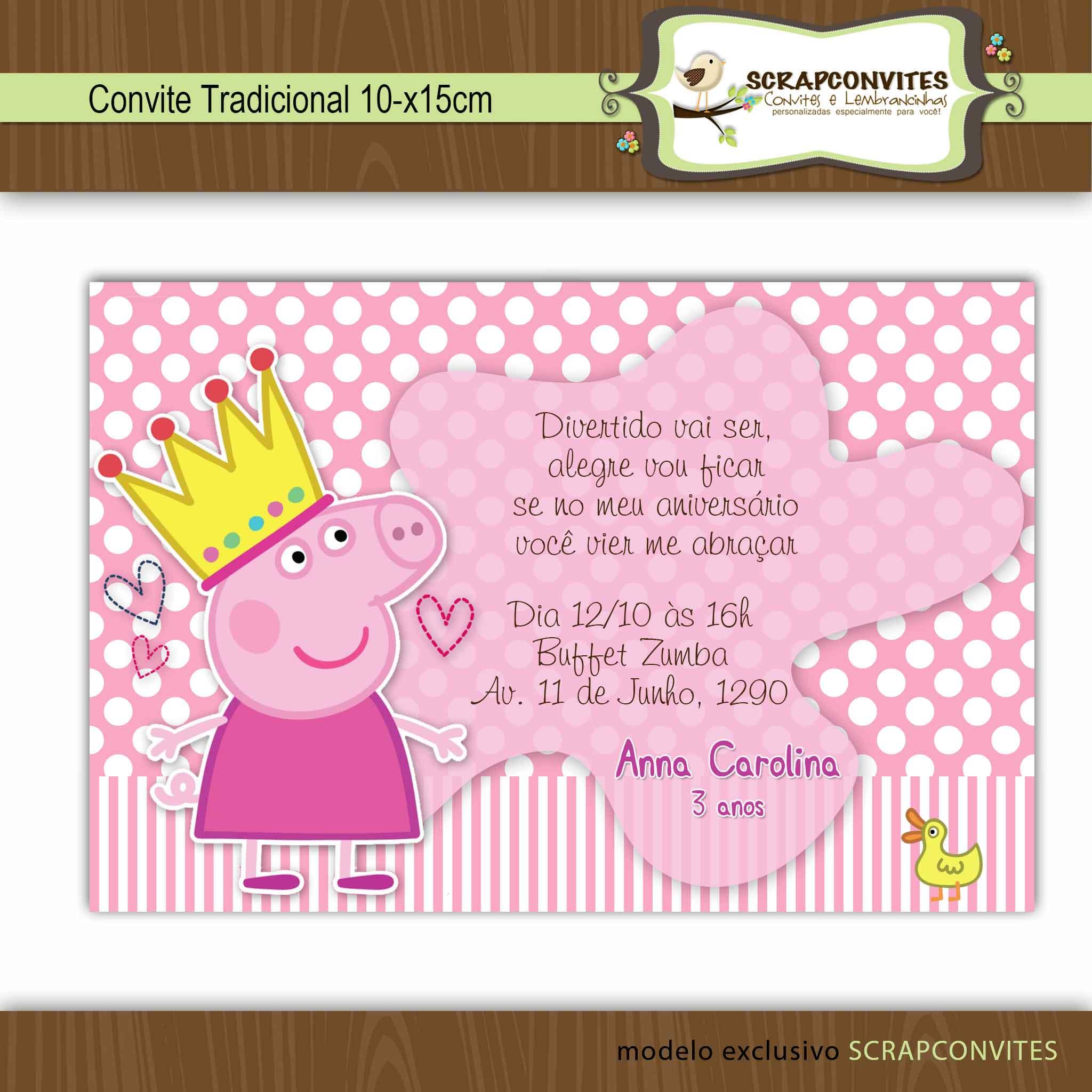 Convite Peppa Pig No Elo7 Scrapconvites 37758a