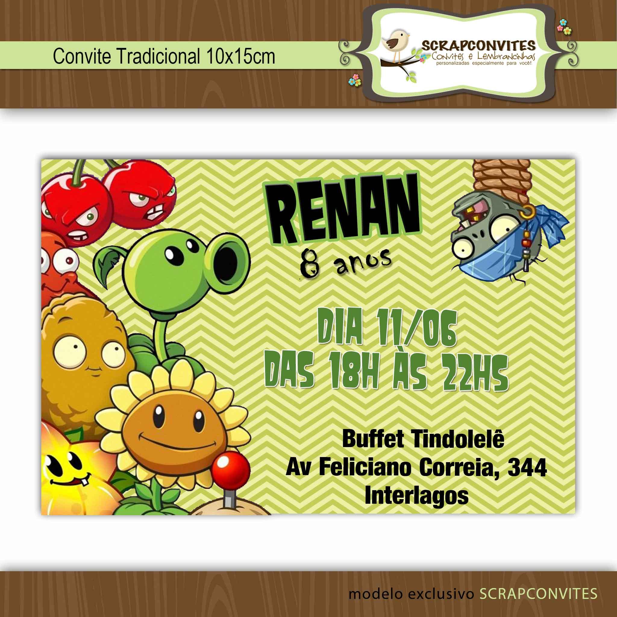 convite plantas vs zumbies no elo7 scrapconvites 38ce85