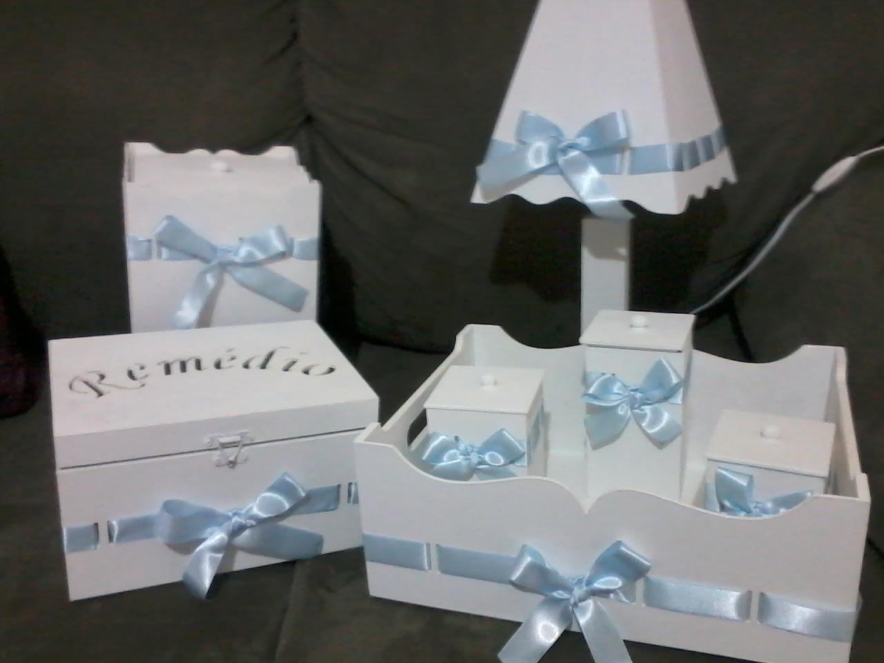 kit higiene beb em mdf branco fita azul lindalu
