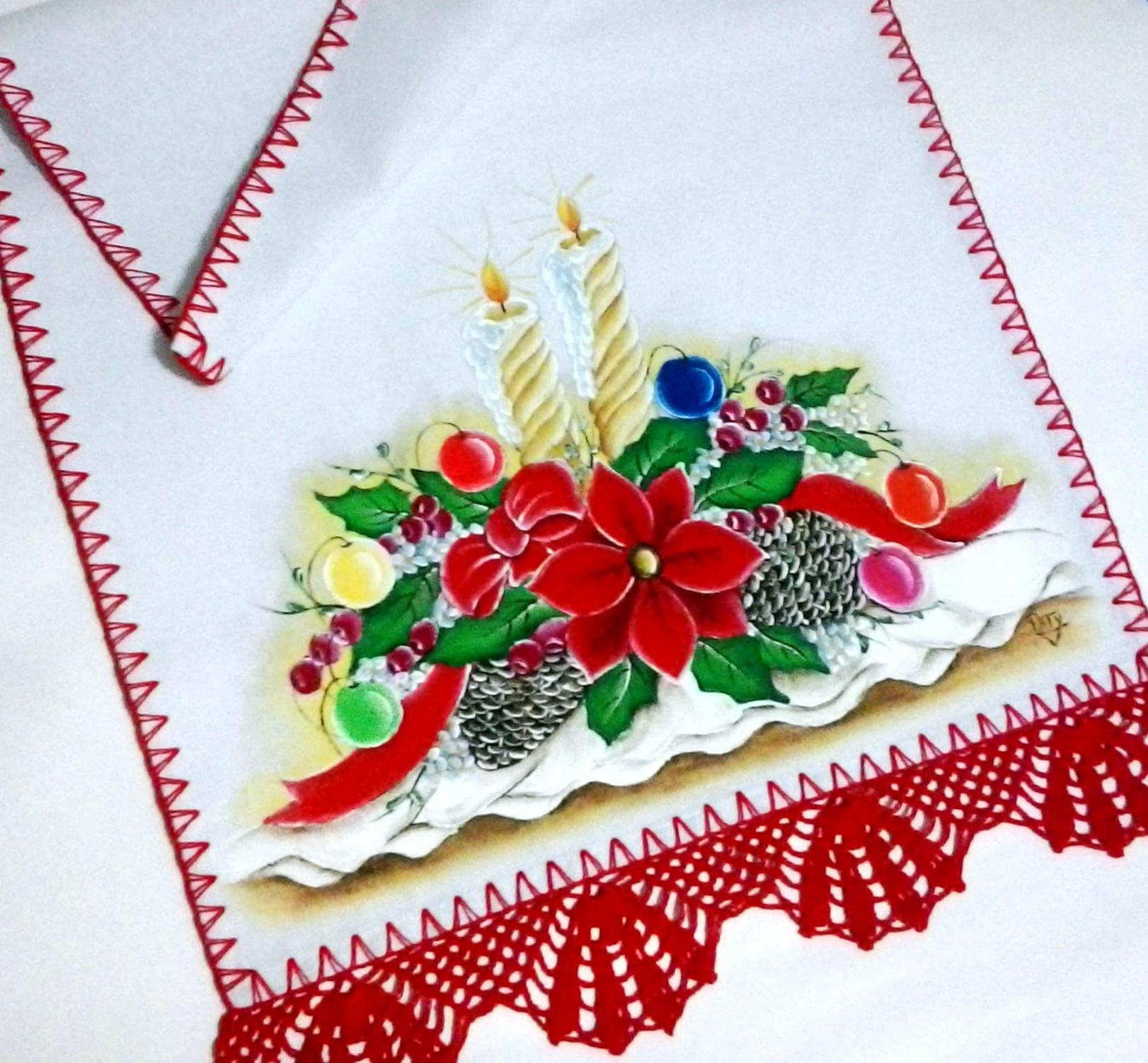 Pano De Copa De Natal Pintado A Mao No Elo7 Pintura Em Tecido E