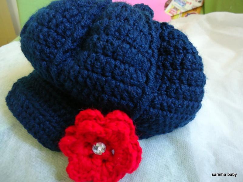 Boina Croche Azul Flor  e91ffda6837