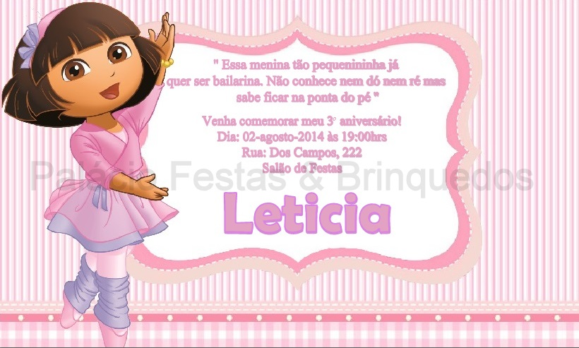 Convite Dora Aventureira Bailarina No Elo7 Palácio Festas