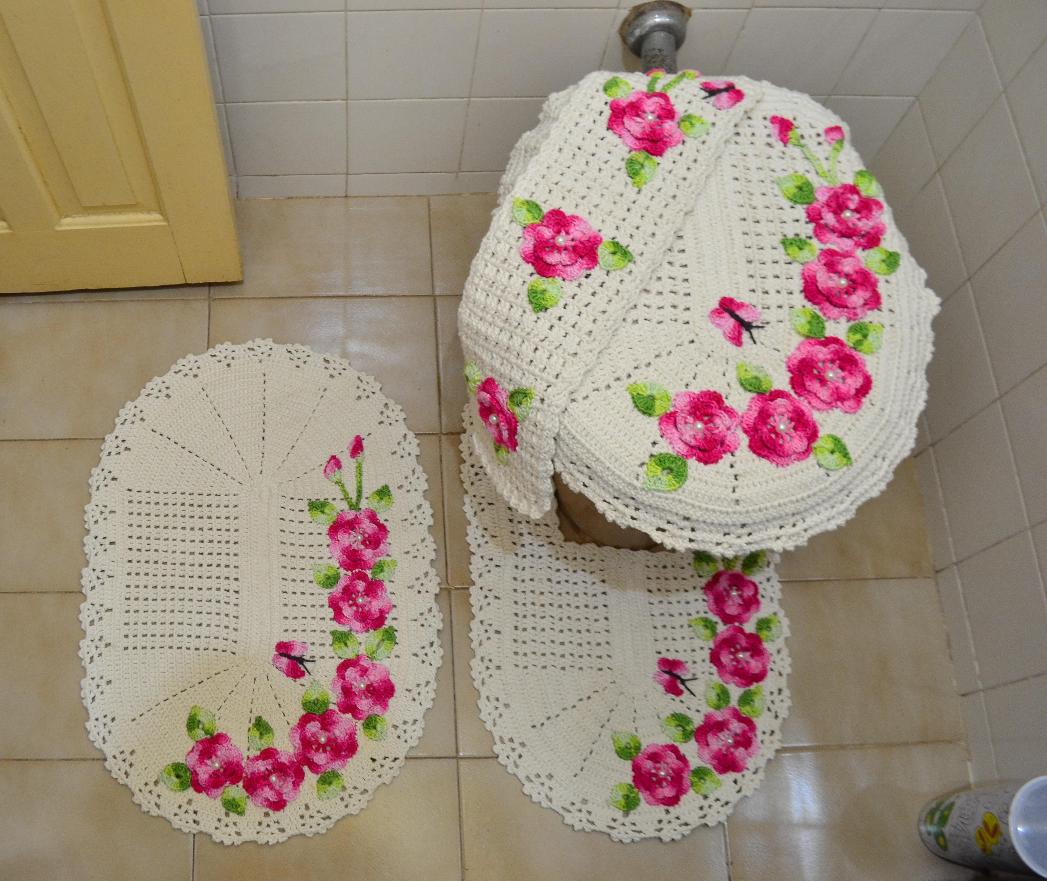 Jogo de banheiro 4 peças  Ateliê da Lica  Elo7 -> Tapete Para Banheiro Croche Simples