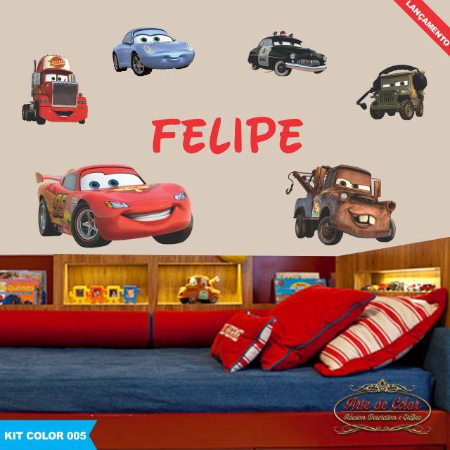 Kit Infantil Carros Disney Brinde Nome Arte de Colar  ~ Adesivo De Parede Quarto Infantil Carros