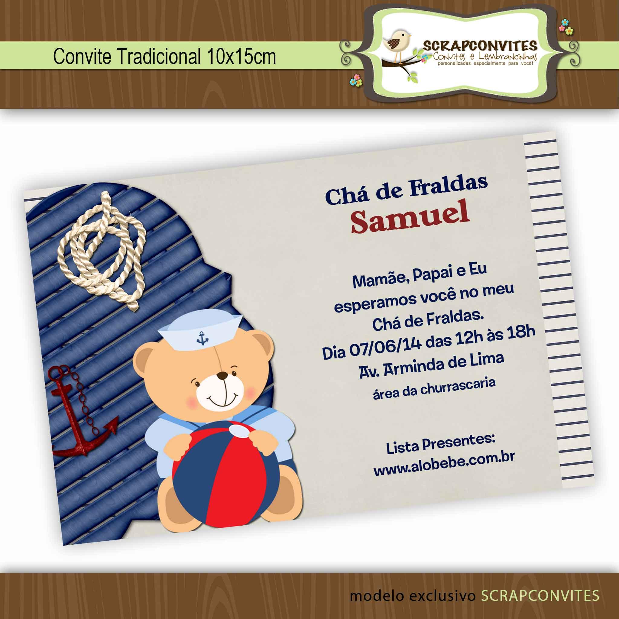 Fabuloso Convite Ursinho Marinheiro no Elo7 | SCRAPCONVITES ARTES (44368C) QD51