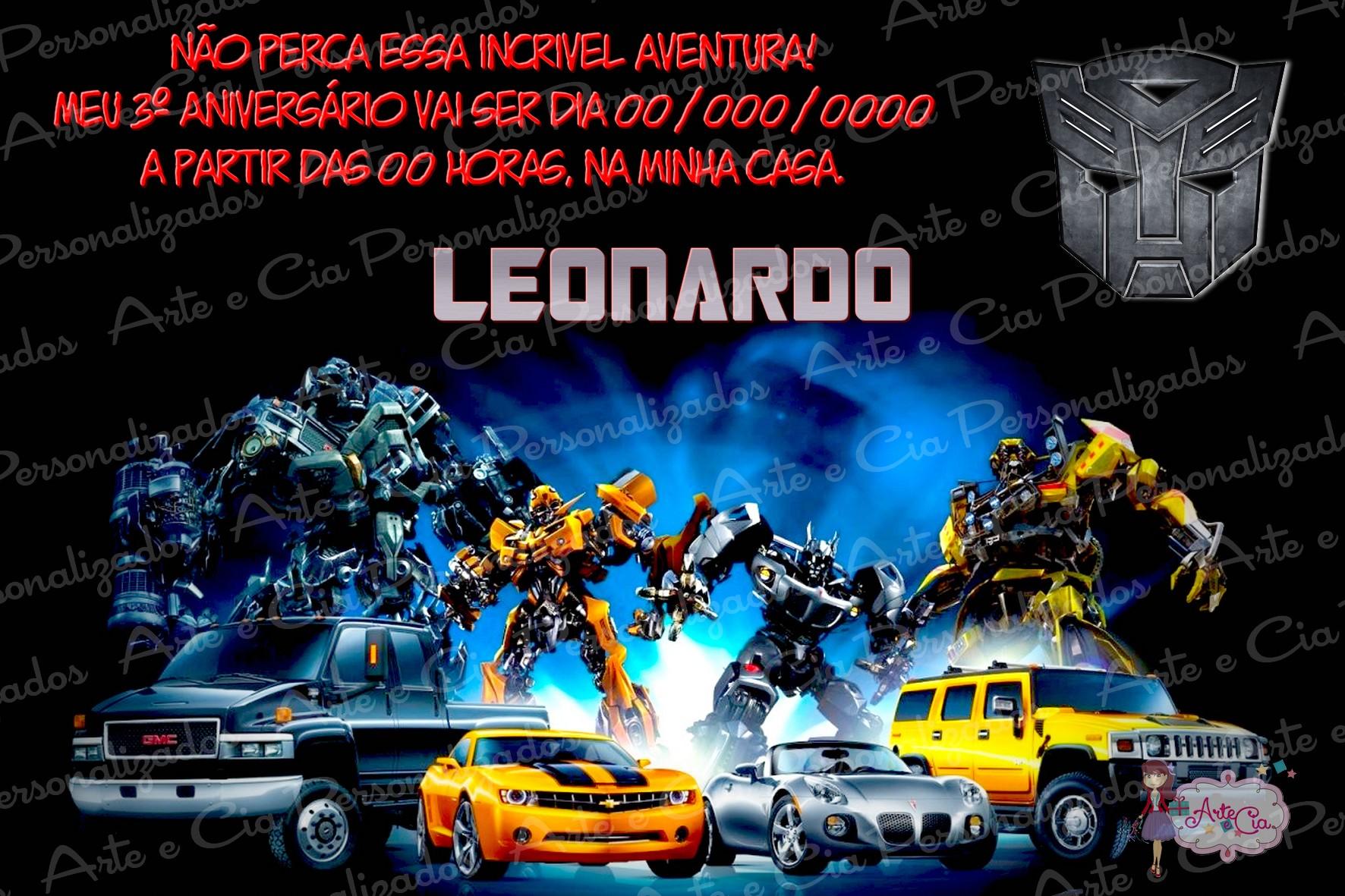 Convite Transformers 100 Personalizado Elo7