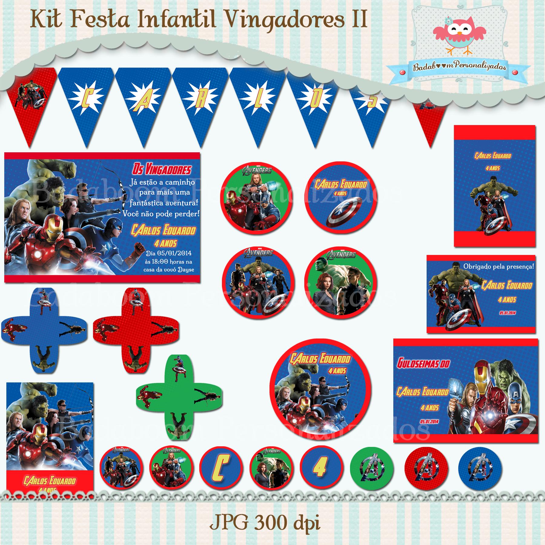 Kit Festa Infantil Vingadores II (arte)  Badaboom Personalizados