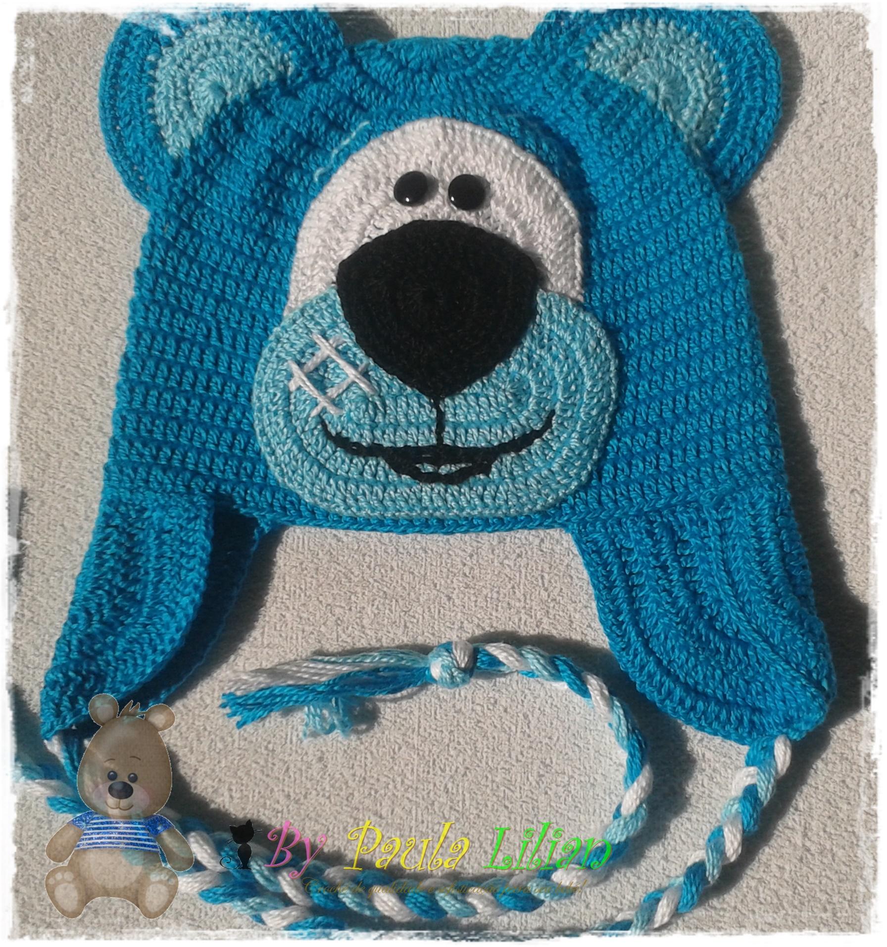 Touca Baby Urso Feliz Azul  741ae0db0a1