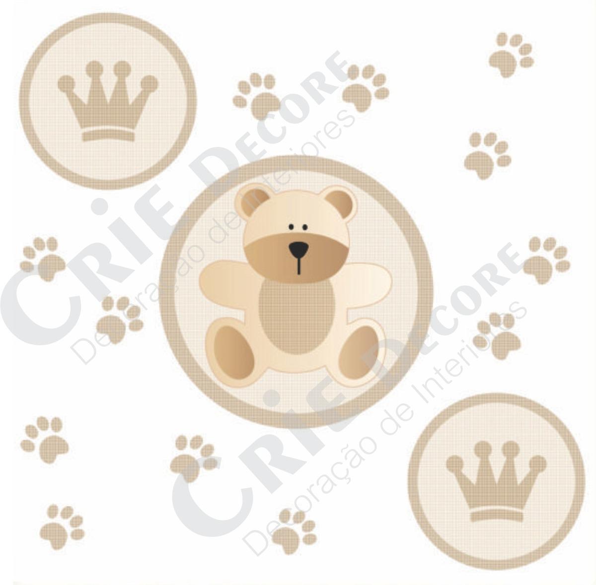 Adesivo De Parede Urso Rei Baby Crie Decore Elo7 ~ Adesivos De Parede Para Quarto De Bebe Urso