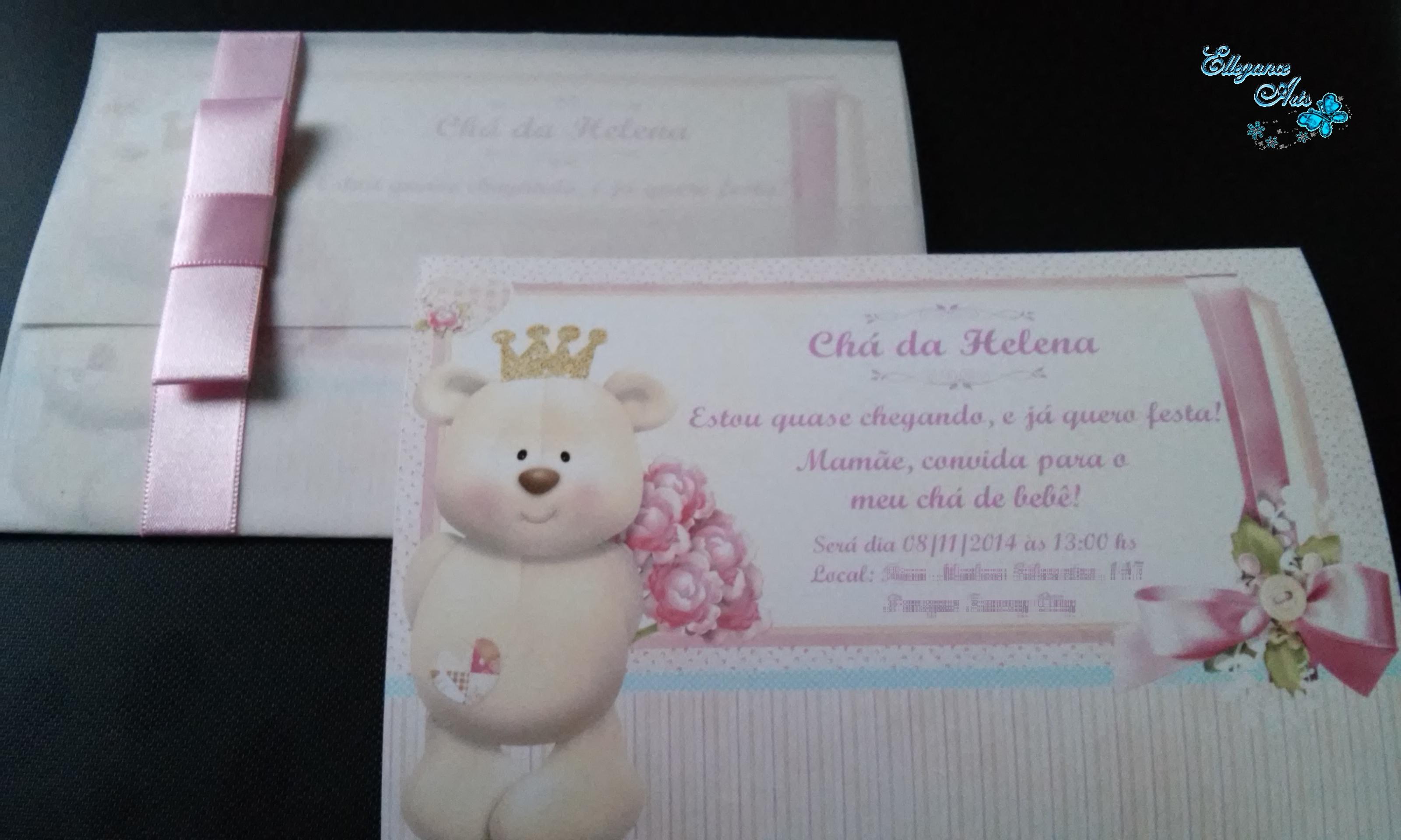Convite Chá De Bebê Ursa Rosa No Elo7 Ellegance Arts 461851
