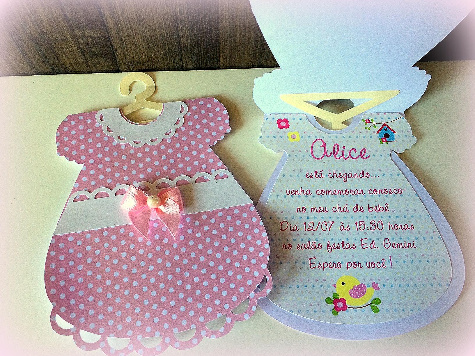 Convite Chá De Bebe Vestido No Elo7 Family Atelier Mimos