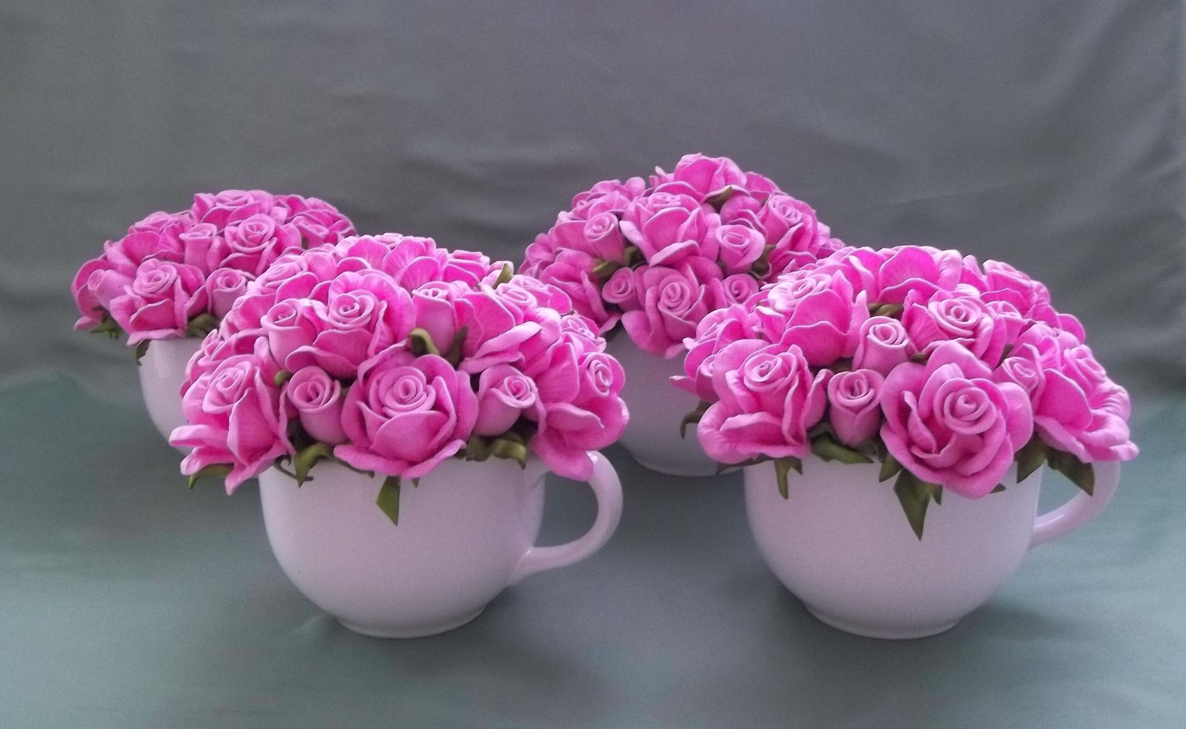Enfeite De Xicara ~ Xicara Decorada com Flores em Eva Idéias e Cores Decor Elo7