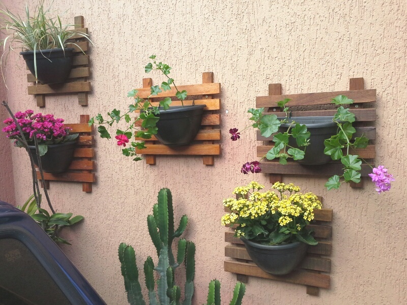 Artesanato Jardim Da Estrela ~ Floreira de parede Painel + Vaso Maia Casa e Jardim Elo7