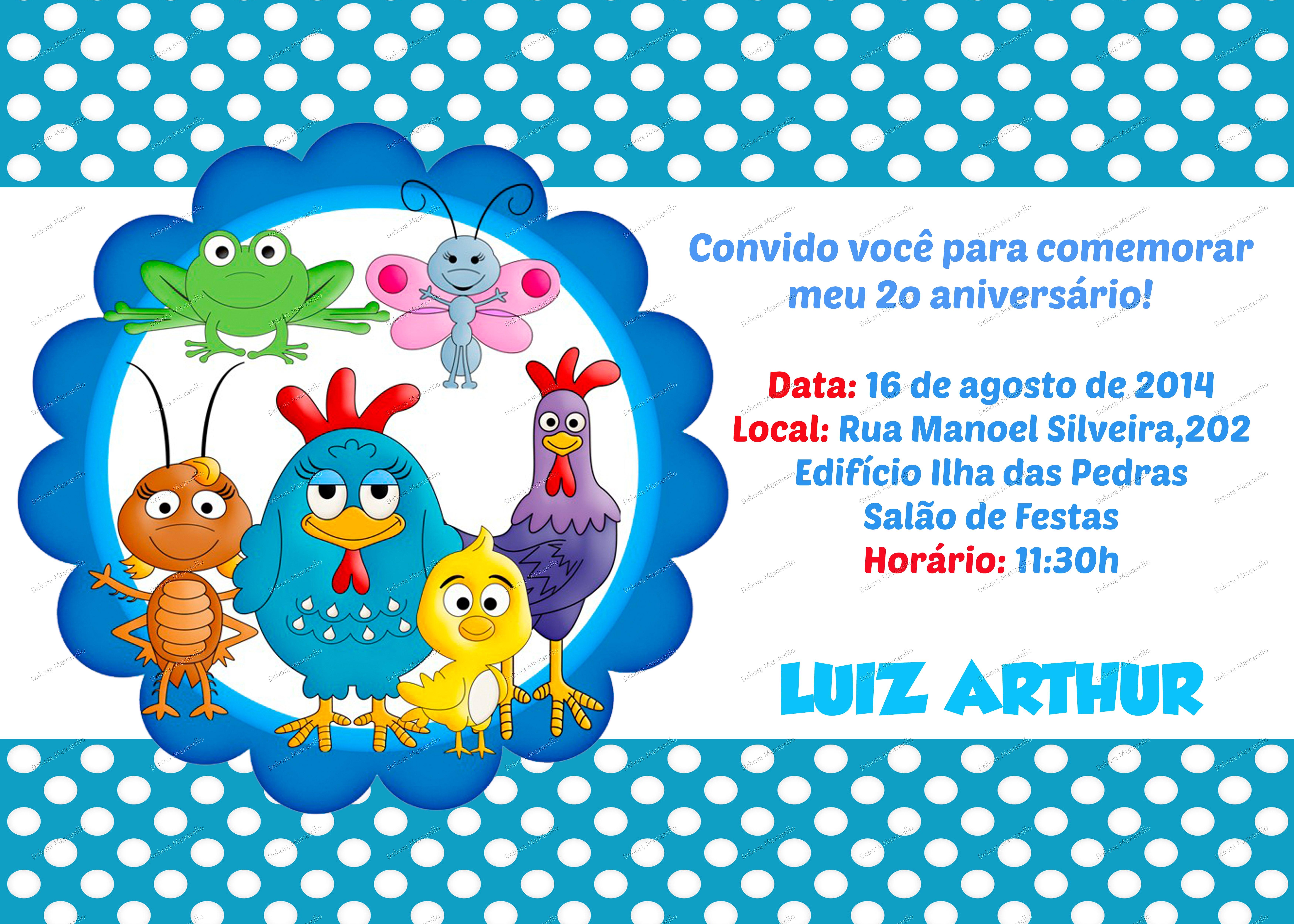 Convite Galinha Pintadinha Debora Mascarello Elo7