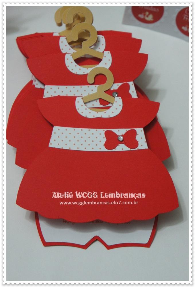 Convite Chá De Bebê Vestido Vermelho No Elo7 Ceci Festas 47012f