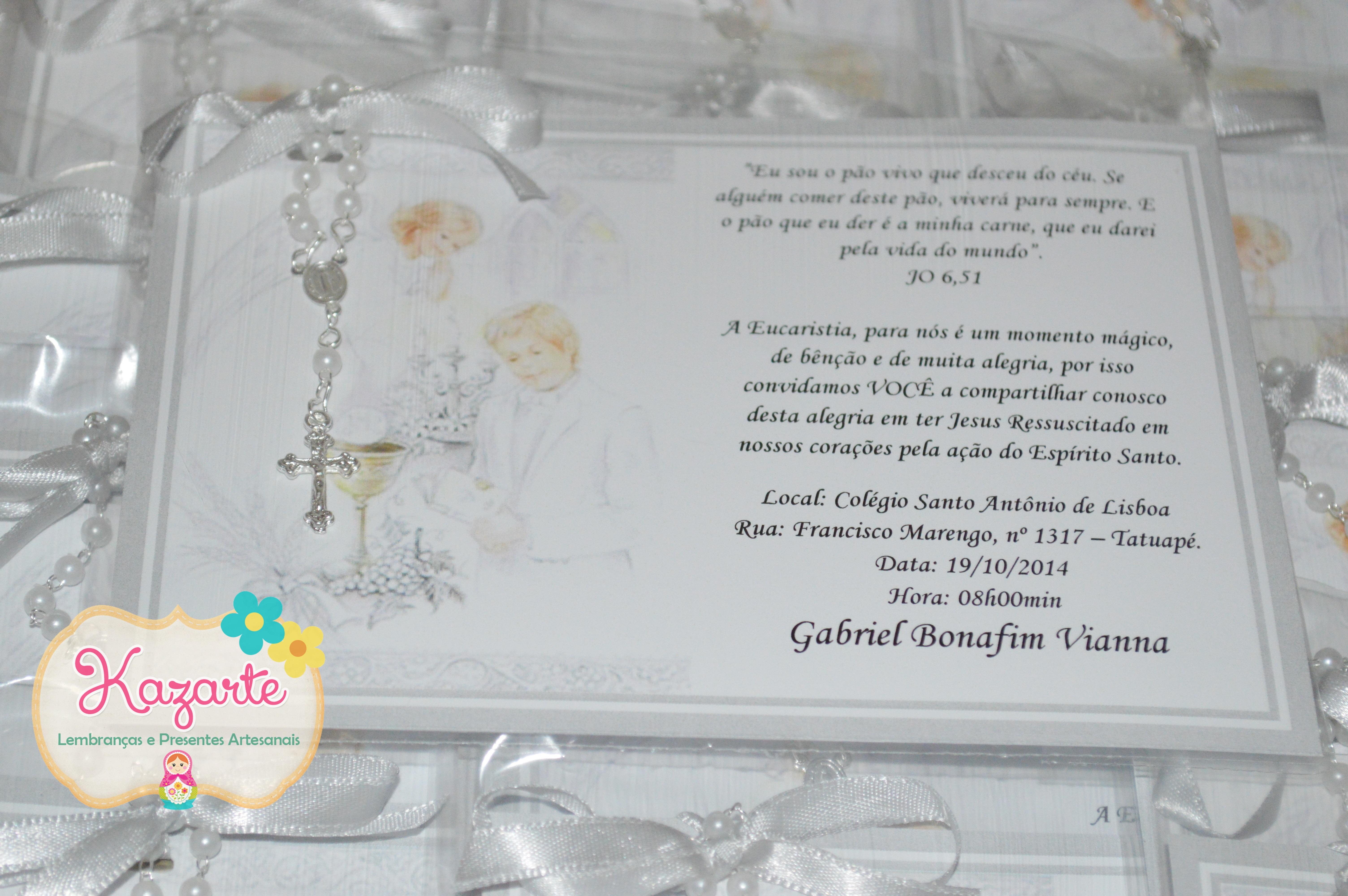 Convite Primeira Eucaristia Elo7
