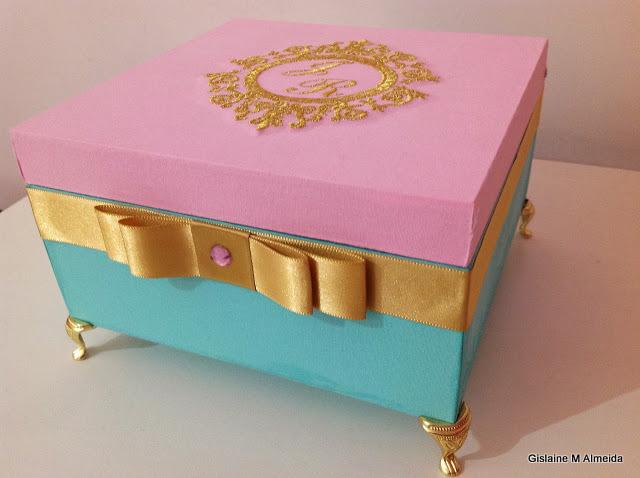 Caixa Azul Tiffany e Rosa Art in the box por Gislaine  ~ Quarto Rosa E Azul Tiffany