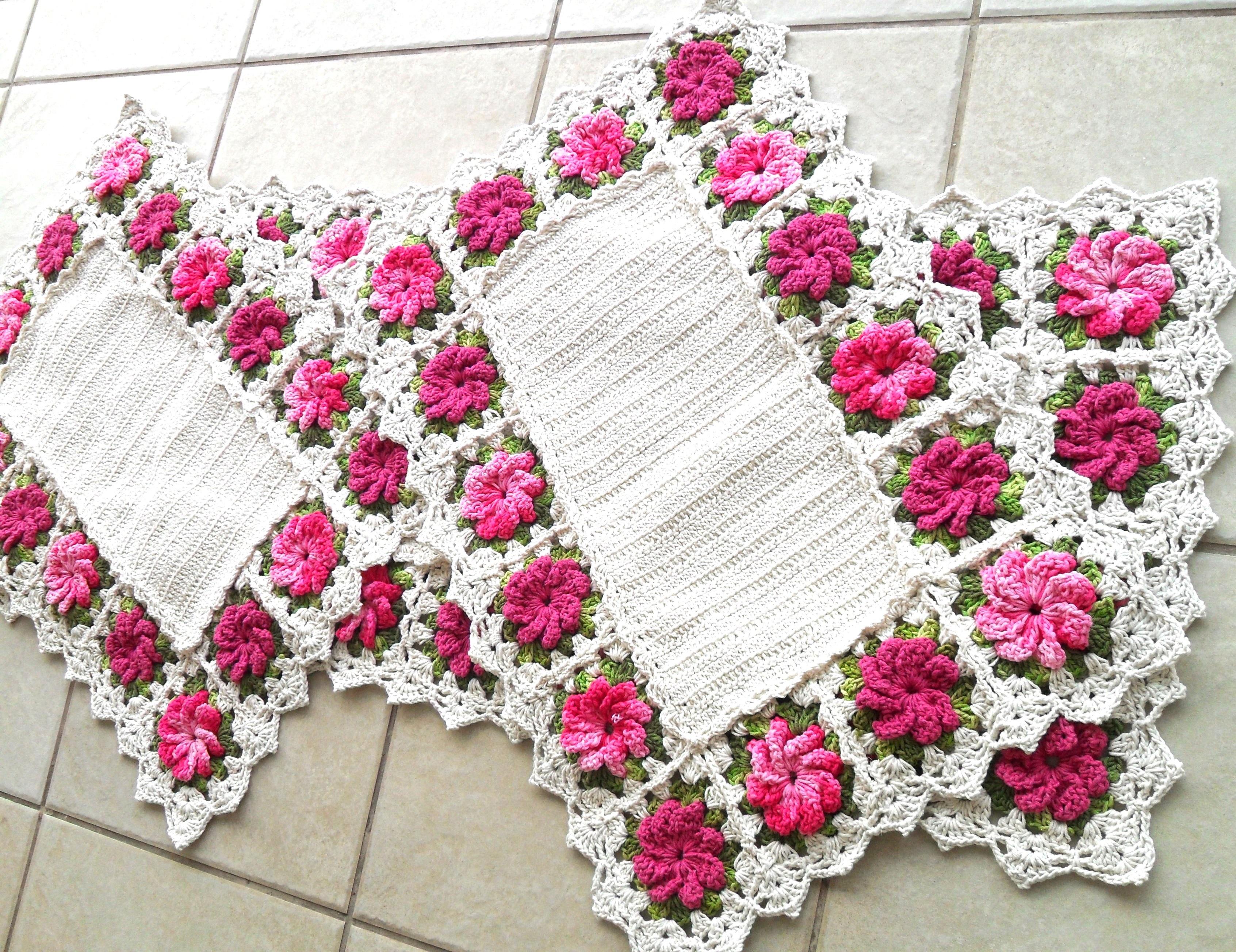 Jogo de cozinha com flores atelier quel c rtes elo7 for Rosa tapete
