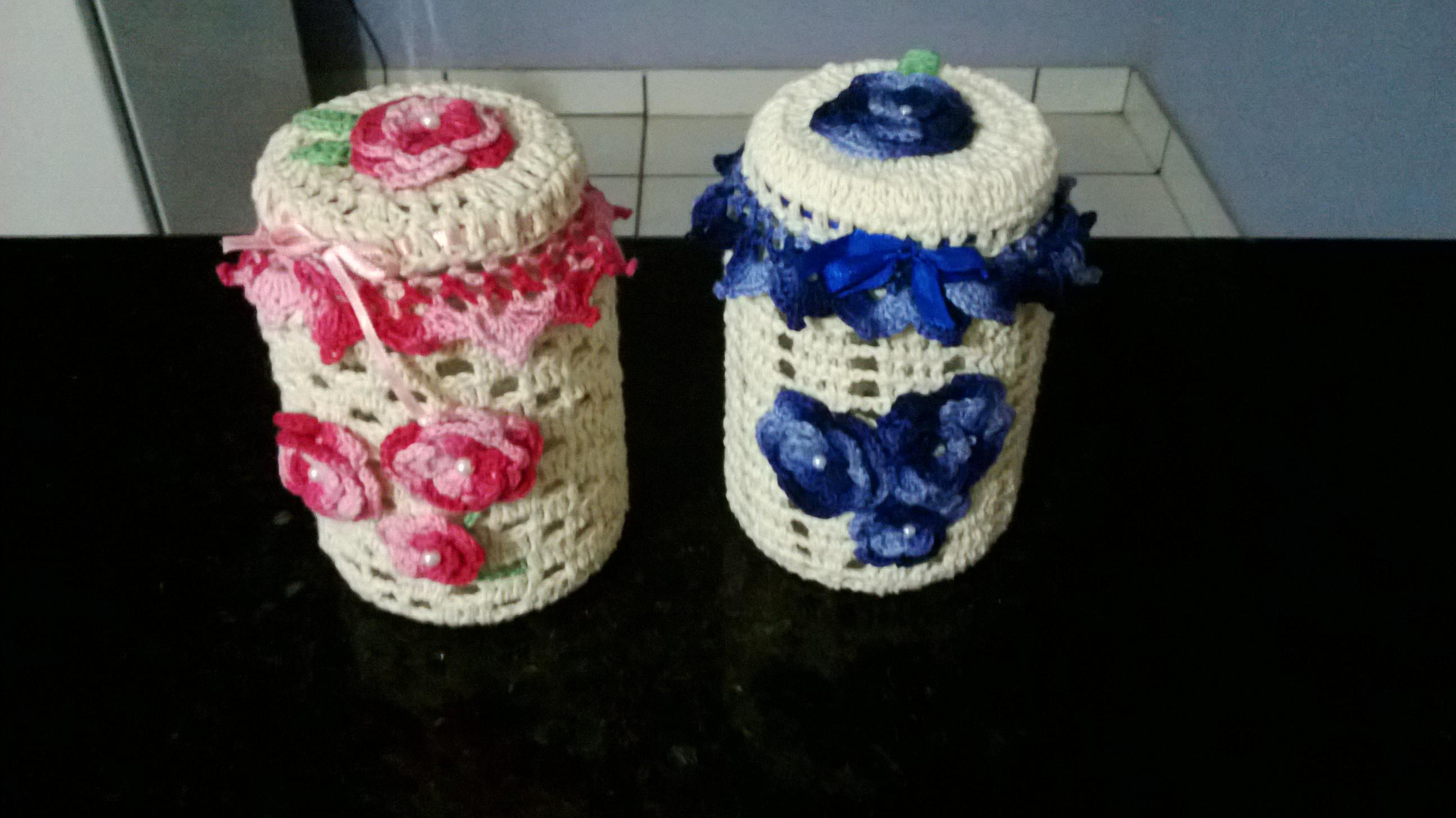 Vidros decorados em croche sonho meu artesanatos elo7 for Como decorar c