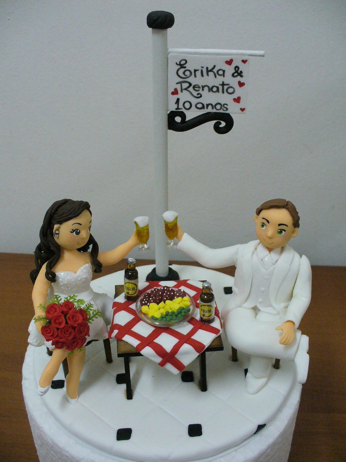 topo de bolo 10 anos de casados no elo7 lourdes artesanato em