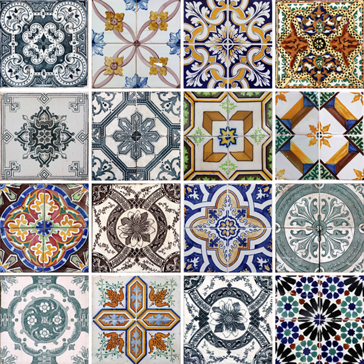 Azulejos e Ladrilhos Hidráulicos (AZ007) Arabesco Design Elo7 #A56F26 1181x1181 Azulejo Banheiro Tamanho