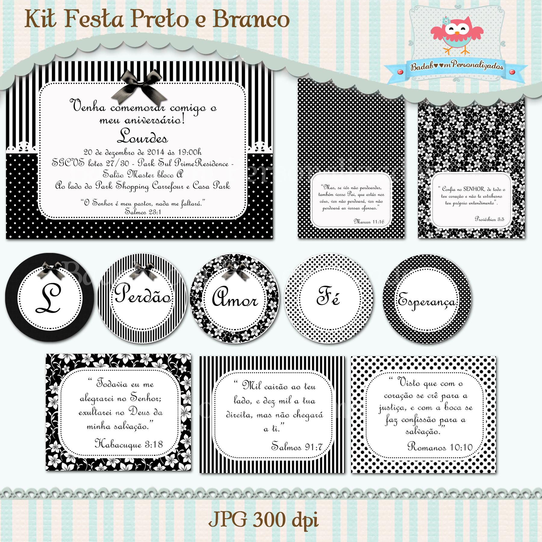 Kit Festa Branco E Preto Arte No Elo7 Badaboom Personalizados