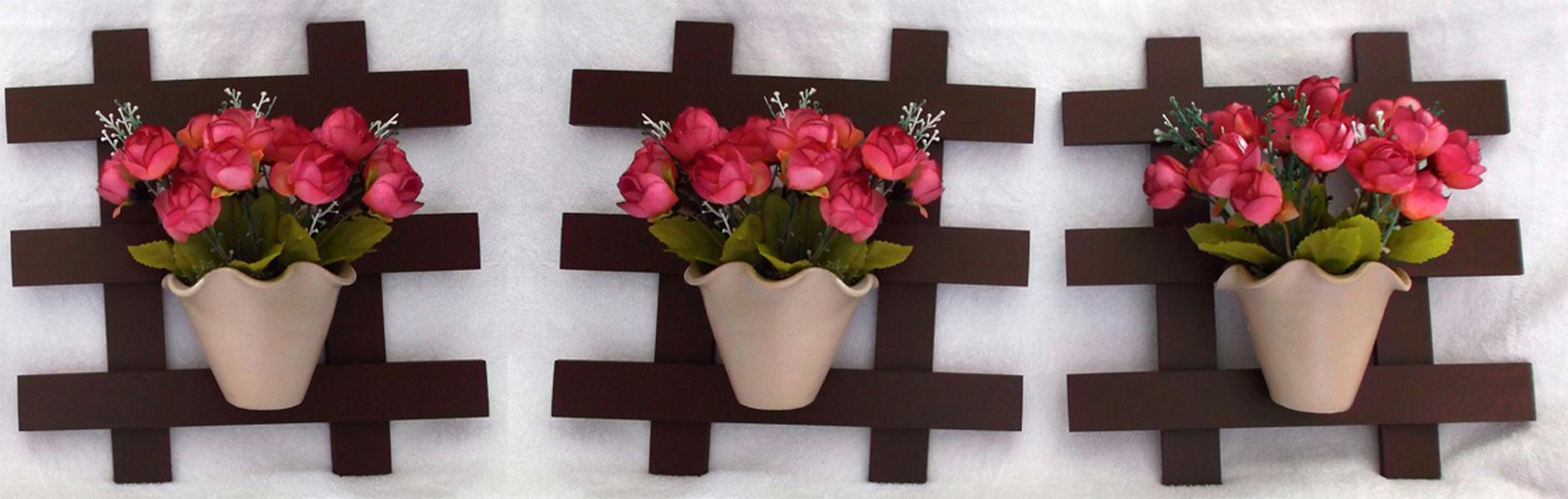 Suficiente Trio de Treliça com Vaso de Flor no Elo7   Toque de Amor Presentes  BA56