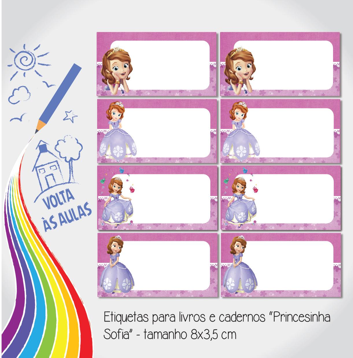 Etiqueta escolar princesinha sofia papel com artes elo7 - Pegatinas pared infantiles disney ...