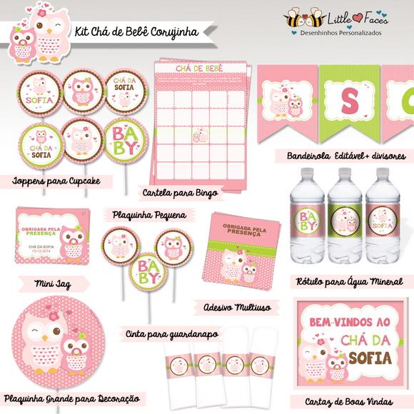 Populares Bingo Chá de Bebê Corujinha p/ Imprimir no Elo7 | LittleFaces (4B6291) MZ75