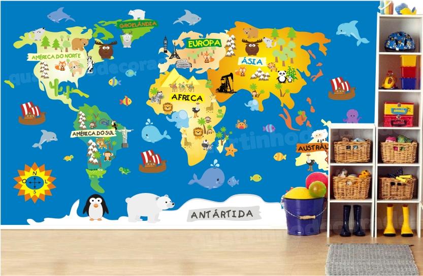 Adesivo Infantil Mapa Mundi Gigante M12  QuartinhoDecorado  Elo7