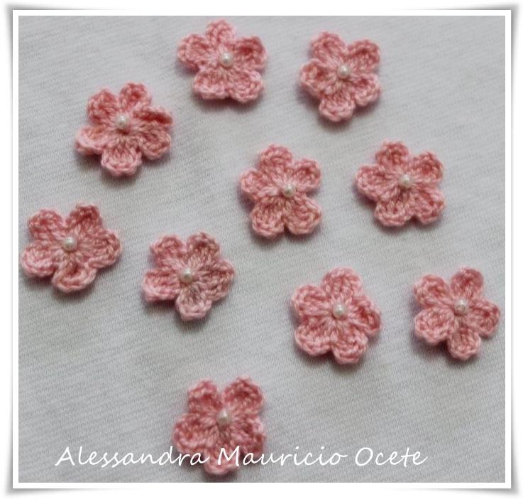 50 Mini Flores Em Crochê Rosa Bebê No Elo7 Mãe Compra Pra Mim