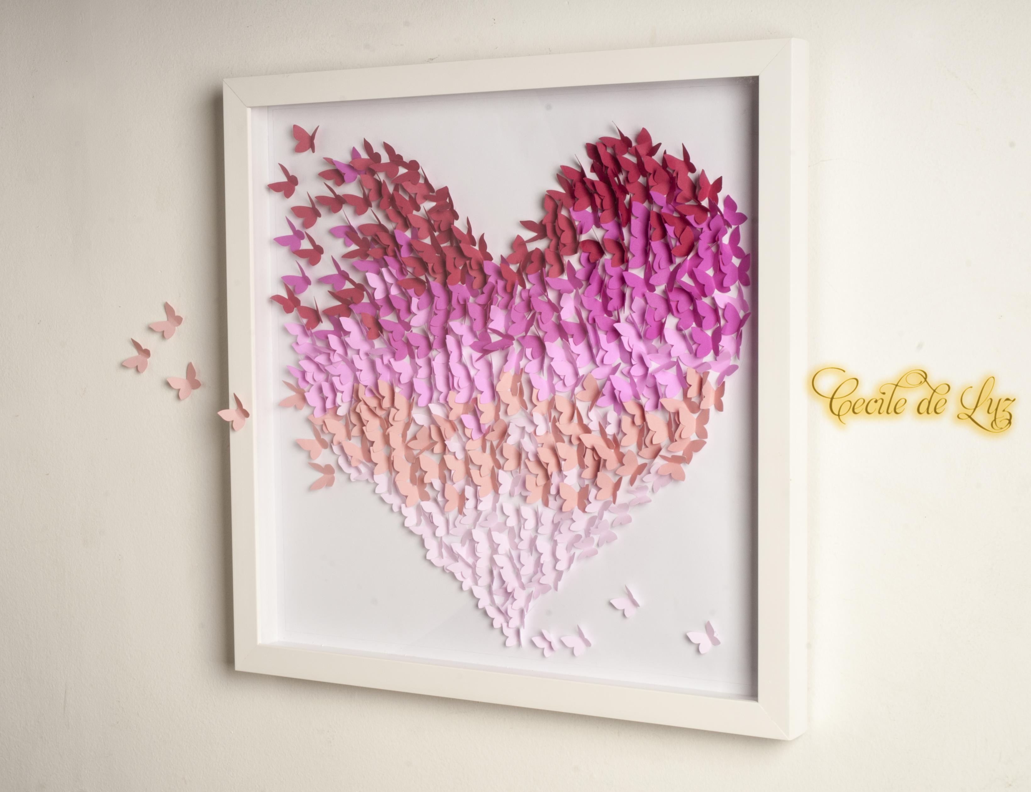 Quadro Cora O De Borboletas Cecile De Luz Flores E Arte Em  ~ Painel De Fotos Para Quarto Coração