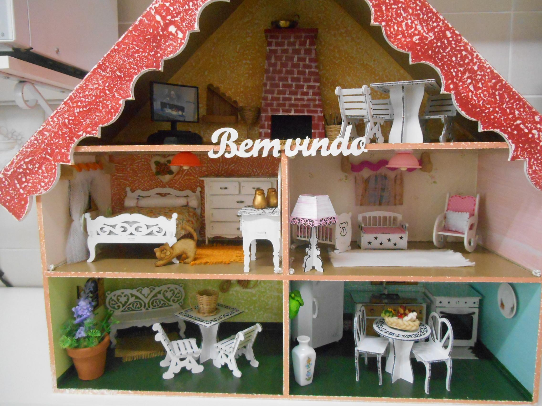Casinha de boneca Mobiliada | ATELIER - ARTE COM AMOR | Elo7