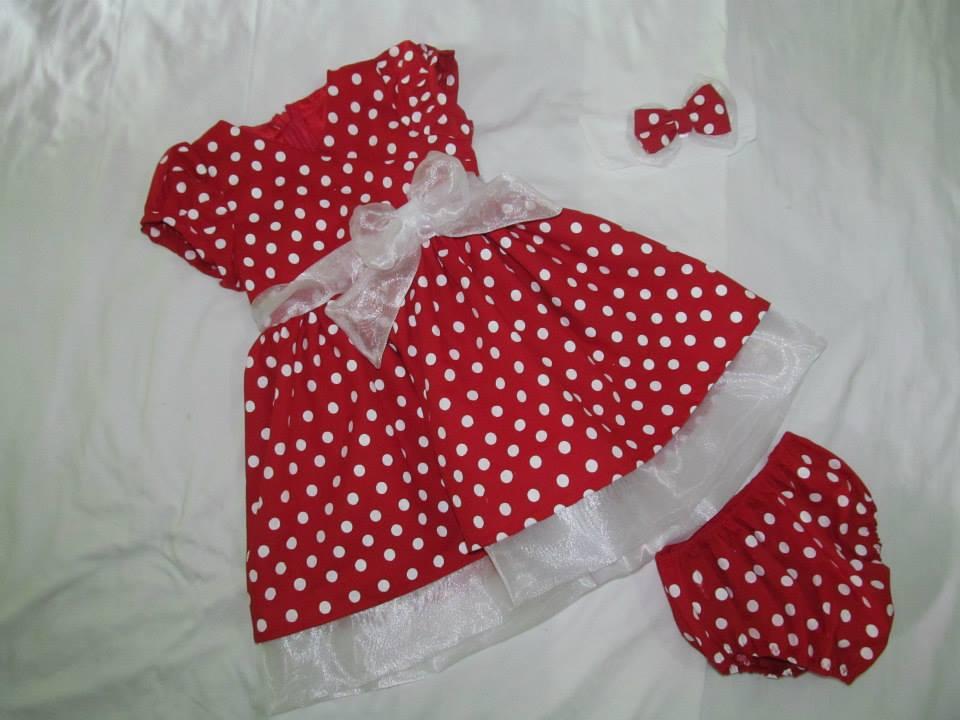 f2c7c64c8ab Vestido Infantil Vermelho de Bolinha Preta