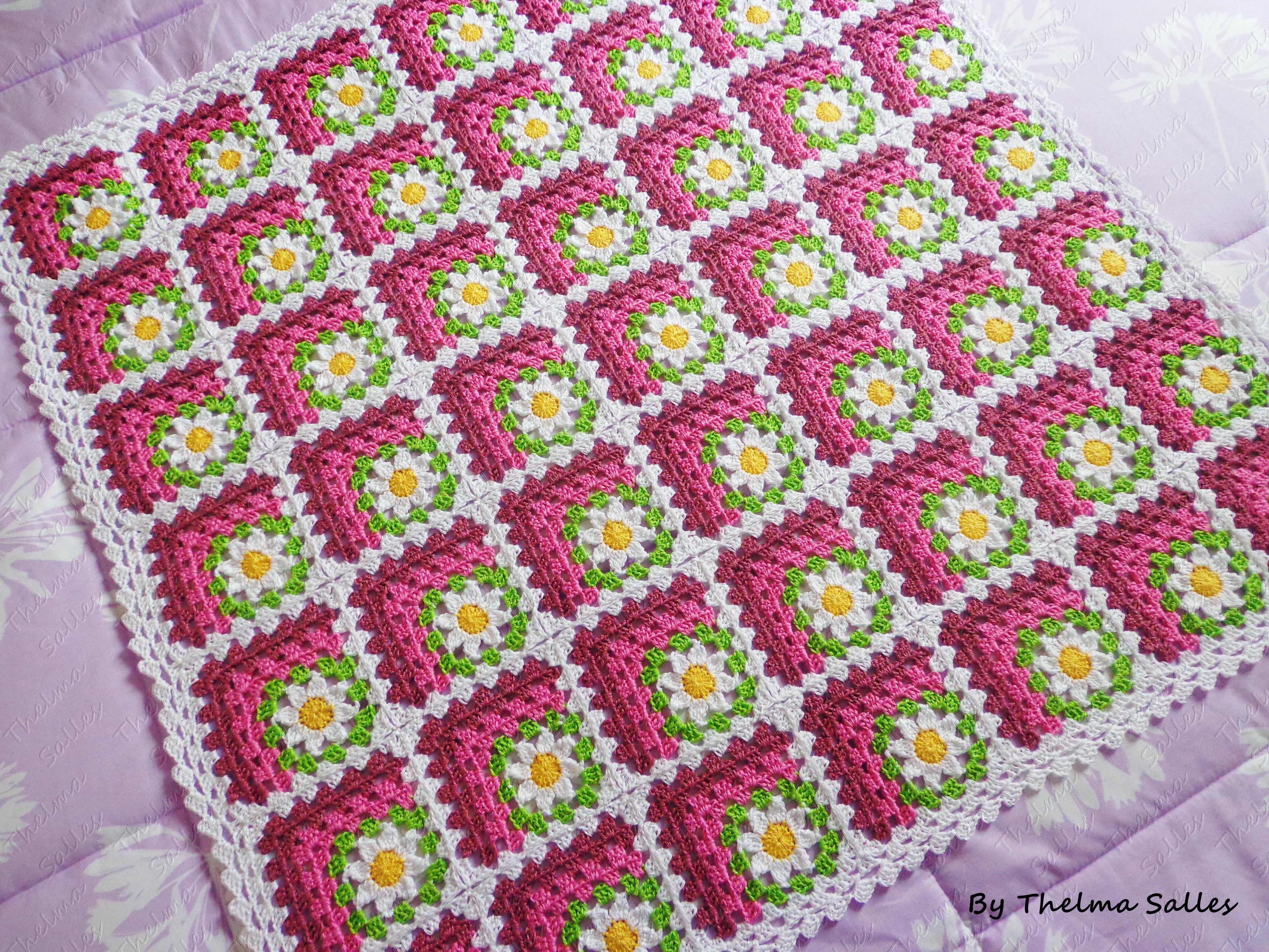 Manta de beb em croch thelma salles artesanatos elo7 - Mantas a crochet ...
