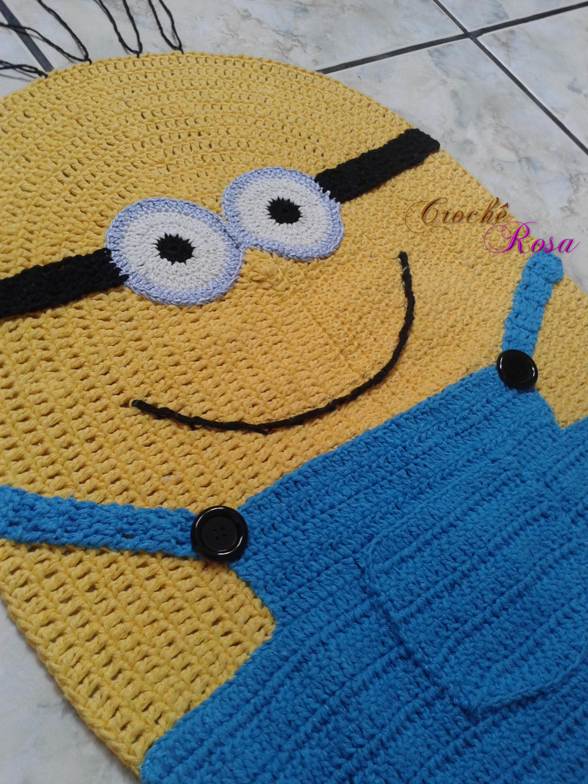 Tapete Infantil Minions em Crochê Crochê Rosa Elo7 ~ Tapetes Para Quarto Infantil Em Croche
