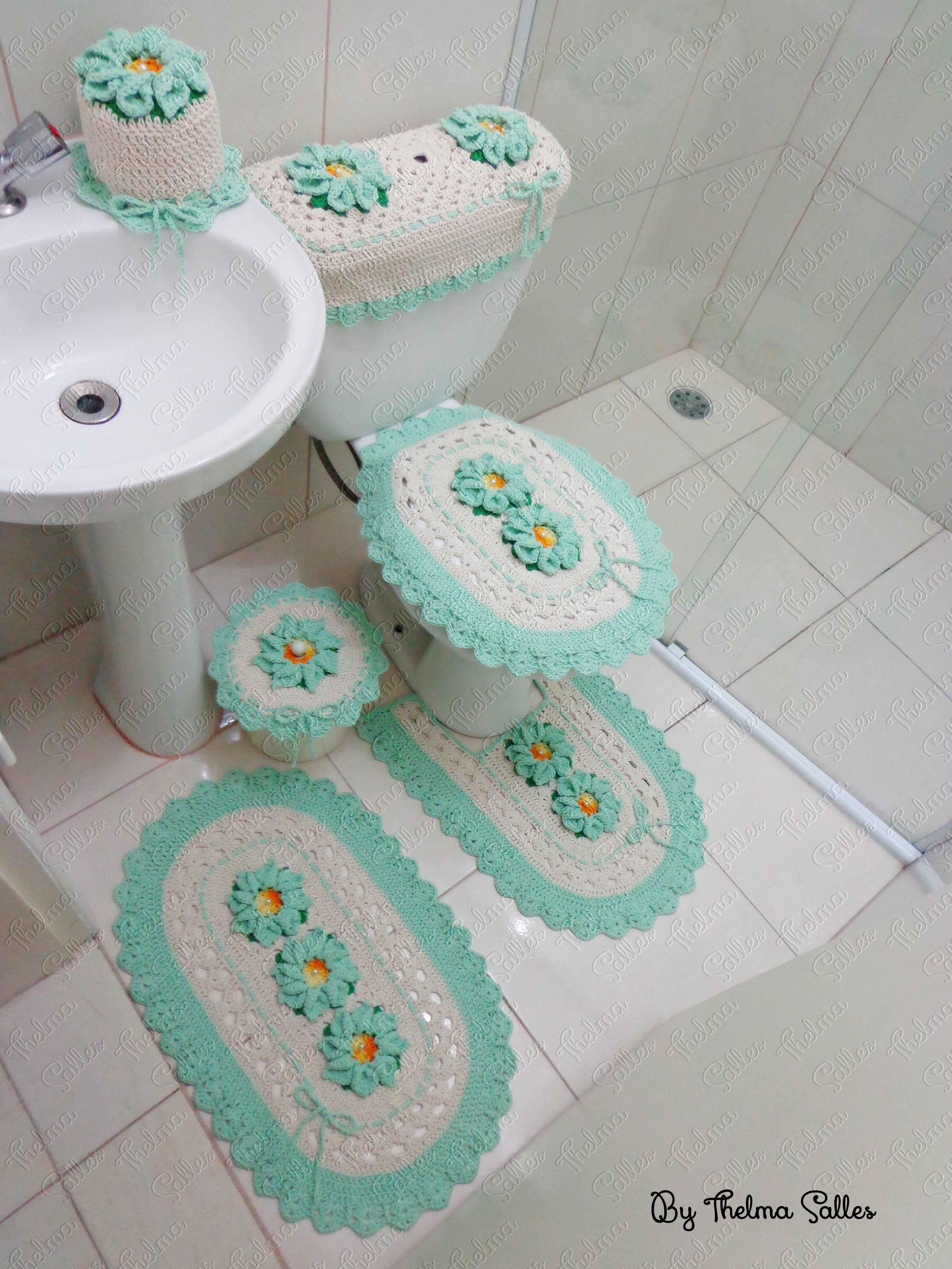 Jogo de banheiro de barbante em crochê Thelma Salles Artesanatos  #49806B 3456 4608