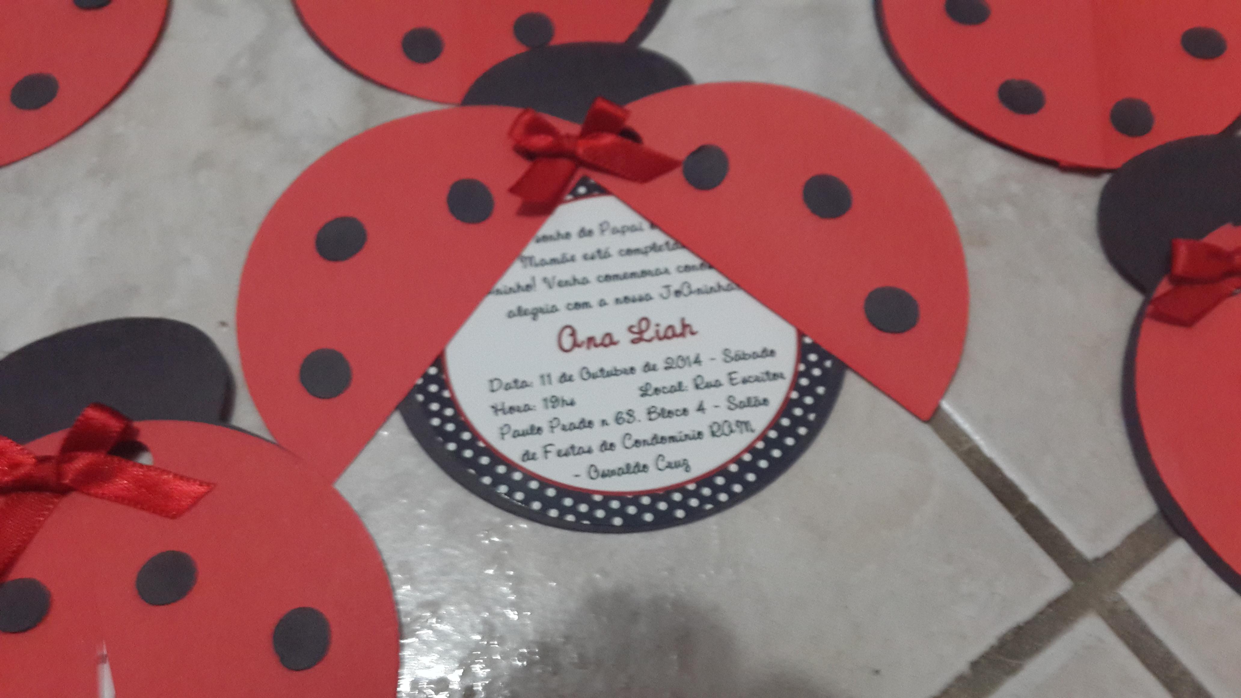 Convite Joaninha No Elo7 Charminho 2cf9e9