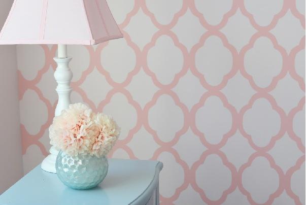 Papel de parede rosa decor 01 crie decore elo7 for Papel decorado rosa